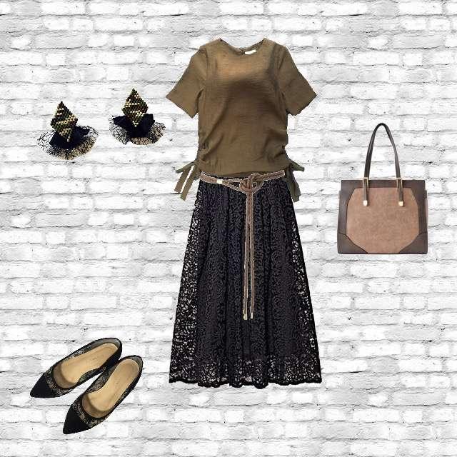 H&Mのシャツ/ブラウス、Palazzoのミモレ丈スカート等を使ったコーデ画像