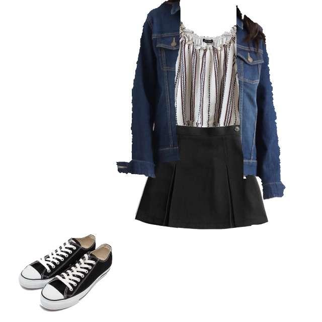 SpRayのTシャツ/カットソー、GRLのひざ丈スカート等を使ったコーデ画像