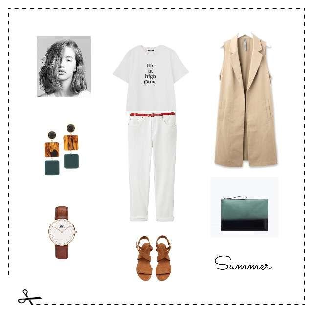 「シンプル、おでかけ」に関するAG by aquagirlのベスト、MURUAのTシャツ/カットソー等を使ったコーデ画像