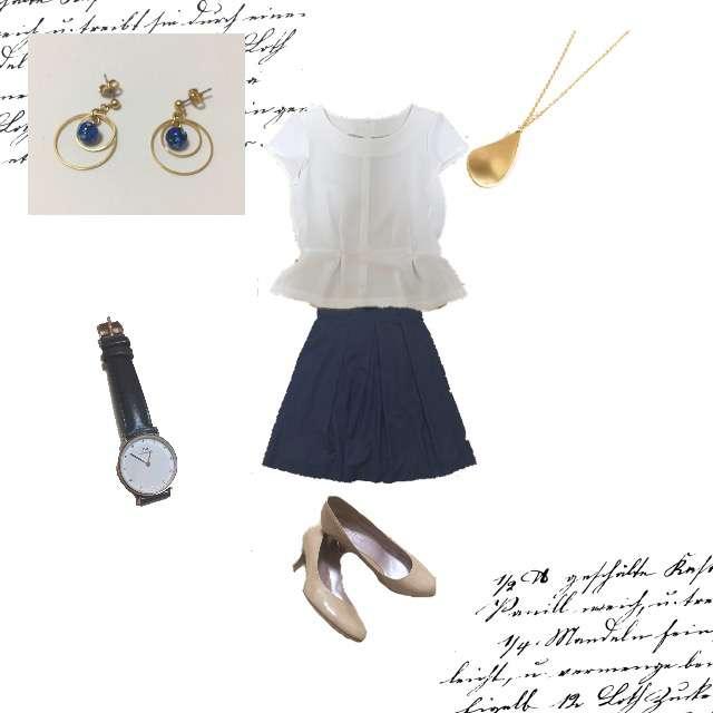 NATURAL BEAUTY BASICのTシャツ/カットソー、THE SUIT COMPANYのフレアスカート等を使ったコーデ画像