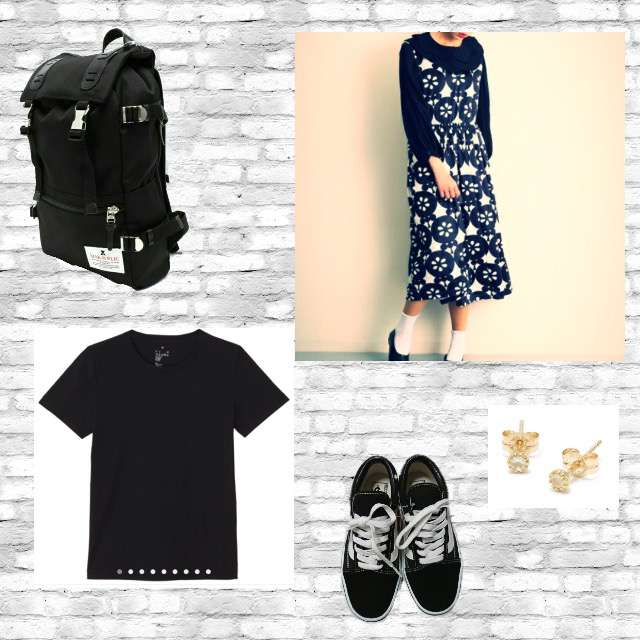 「カジュアル、カフェ」に関するMUJIのTシャツ/カットソー、merlotのマキシ丈ワンピ等を使ったコーデ画像