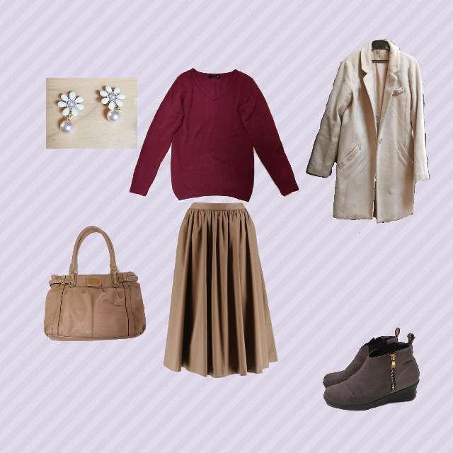 「ガーリー・フェミニン、カフェ」に関する神戸レタスのニット/セーター、UNIQLOのミモレ丈スカート等を使ったコーデ画像