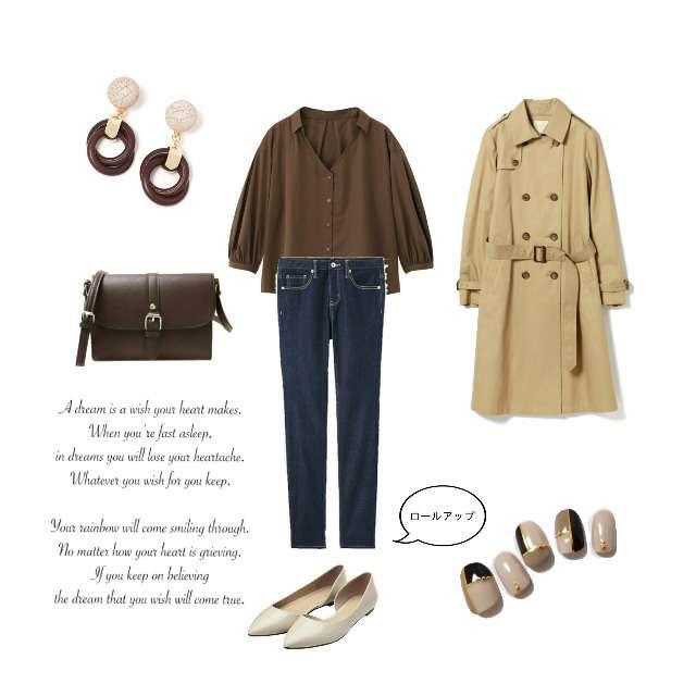 「シンプル、カフェ、スキッパーシャツ、ブラウン」に関するGUのシャツ/ブラウス、デニムパンツ等を使ったコーデ画像