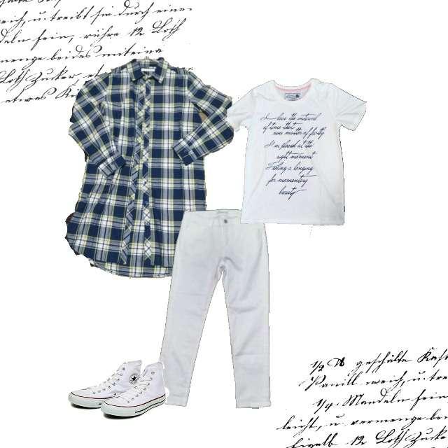 NAVANAのTシャツ/カットソー、CECIL McBEEのシャツ/ブラウス等を使ったコーデ画像