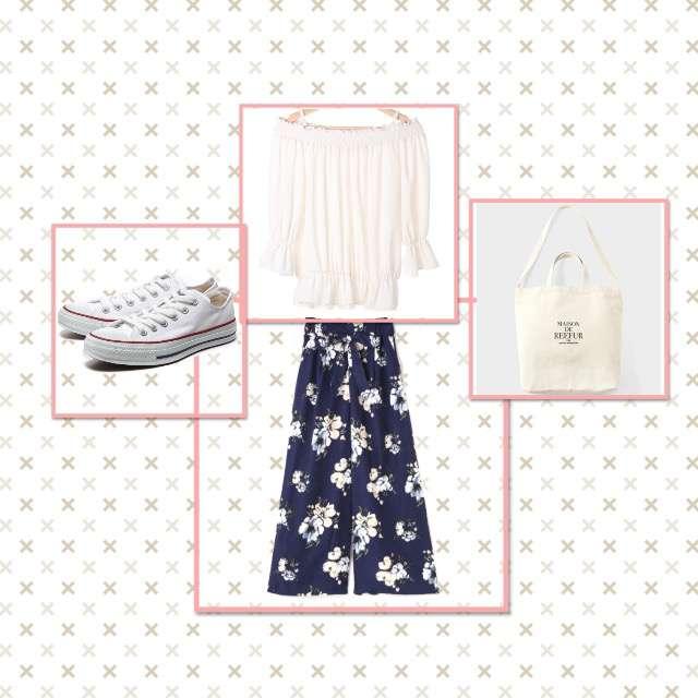 INGNIのTシャツ/カットソー、FREE'S MARTのワイドパンツ等を使ったコーデ画像