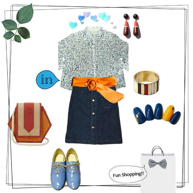 「カジュアル、おでかけ、オレンジ、猫、猫柄、デニムスカート」に関するKhajuのシャツ/ブラウス、Chloeのデニムスカート等を使ったコーデ画像