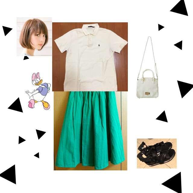 RALPH LAURENのポロシャツ、ミモレ丈スカート等を使ったコーデ画像