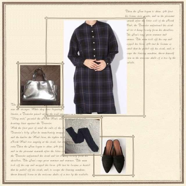 GYMPHLEXのシャツワンピ、green label relaxingのドレスシューズ/ミュール等を使ったコーデ画像