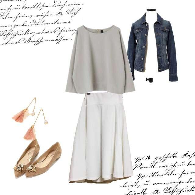 Aqua GarageのTシャツ/カットソー、ひざ丈スカート等を使ったコーデ画像