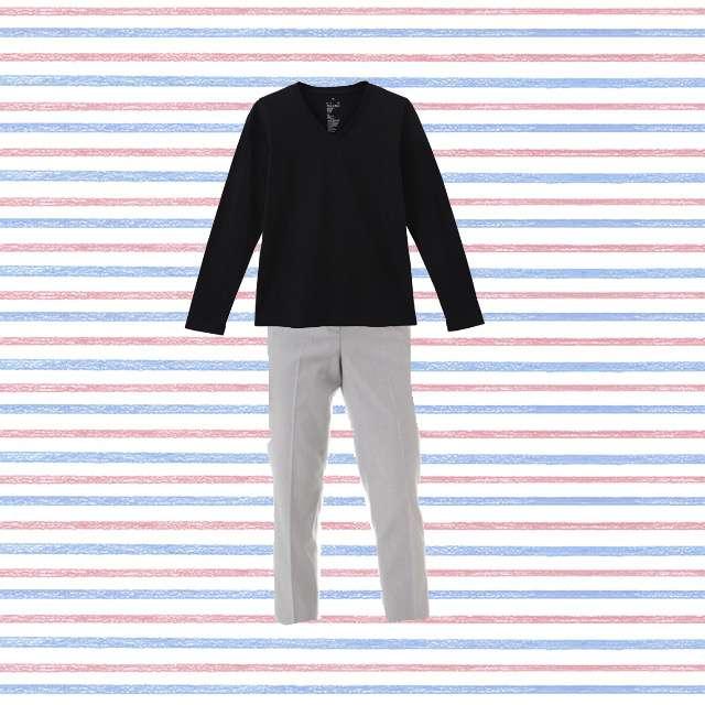 MUJI(無印良品)のTシャツ/カットソー、NATURAL BEAUTY BASICのクロップドパンツ等を使ったコーデ画像
