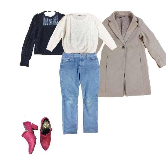 WEGOのシャツ/ブラウス、KATHARINE ROSSのニット/セーター等を使ったコーデ画像