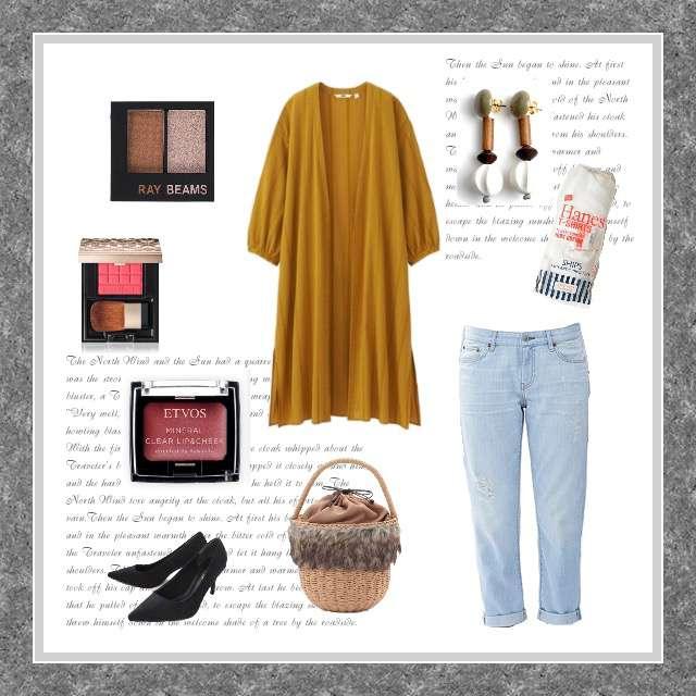 「カジュアル、休日」に関するSHIPS for womenのTシャツ/カットソー、UNIQLOのデニムパンツ等を使ったコーデ画像