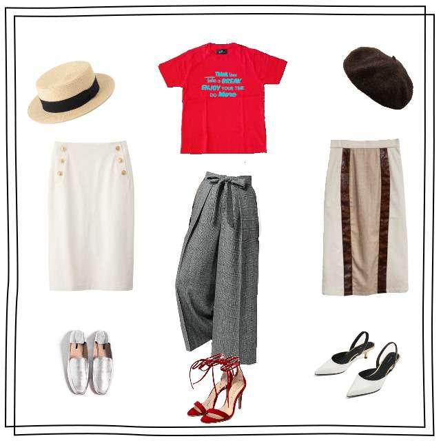 「ワイドパンツ、タイトスカート、赤Tシャツ、赤×白、赤×グレー」に関するnano・universeのTシャツ/カットソー、NOLLEY'Sのタックパンツ等を使ったコーデ画像