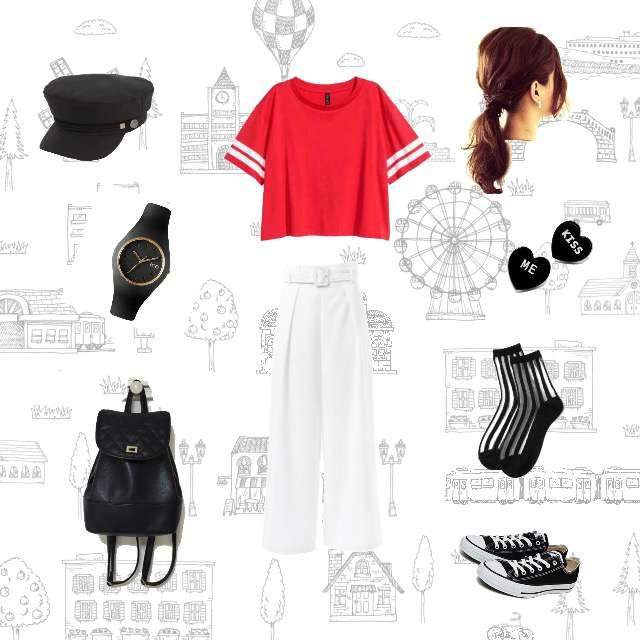 「ナチュラル・リラックス、おでかけ、遊園地」に関するH&MのTシャツ/カットソー、GRLのワイドパンツ等を使ったコーデ画像