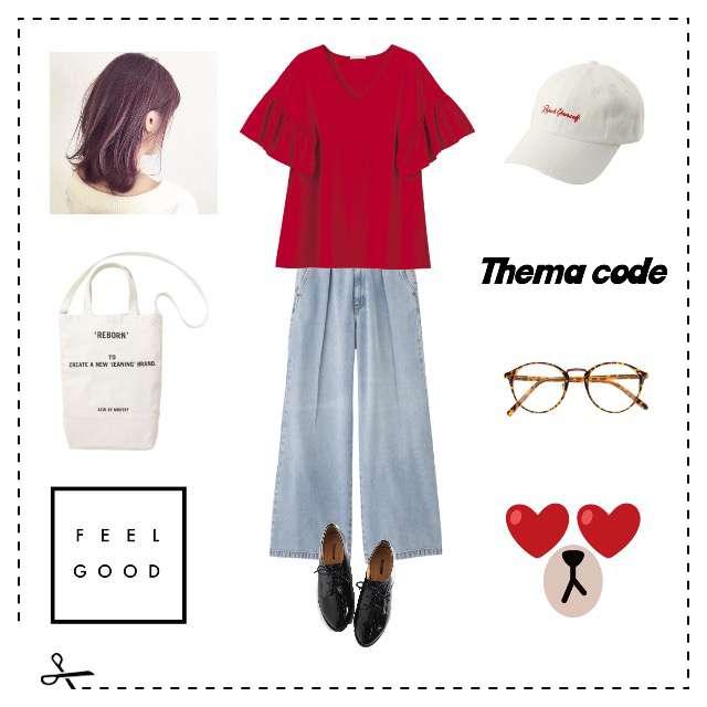 「カジュアル、お散歩、シンプル、赤Tシャツ、トートバッグ×白、最近キャップコーデが好き、赤って可愛いよね」に関するGUのTシャツ/カットソー、GUのデニムパンツ等を使ったコーデ画像