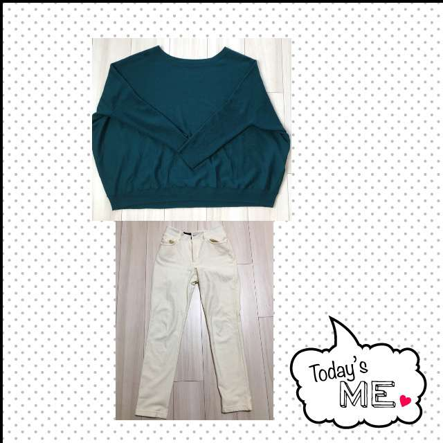 「シンプル、おでかけ」に関するニット/セーター、麻布プロバドールのスキニーパンツ等を使ったコーデ画像