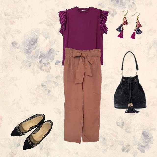 e-zakkamania storesのTシャツ/カットソー、Discoat Parisienのクロップドパンツ等を使ったコーデ画像