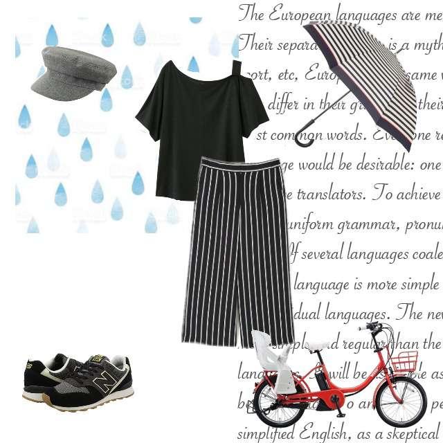 「カジュアル、雨の日」に関するGUのTシャツ/カットソー、BOSCHのガウチョパンツ等を使ったコーデ画像