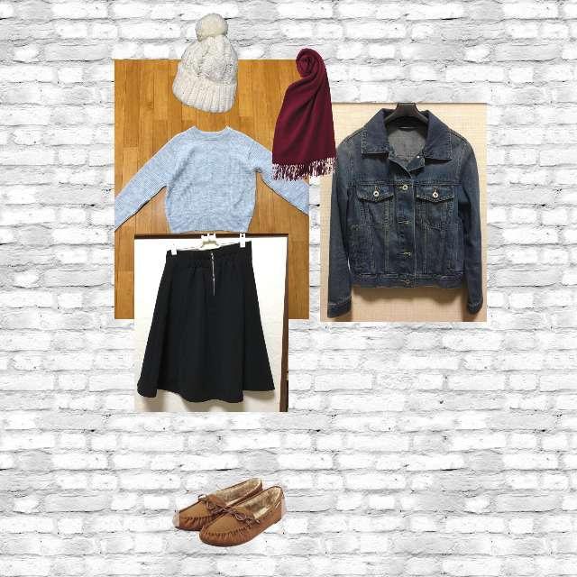 「カジュアル、カフェ」に関するGUのニット/セーター、GUのひざ丈スカート等を使ったコーデ画像