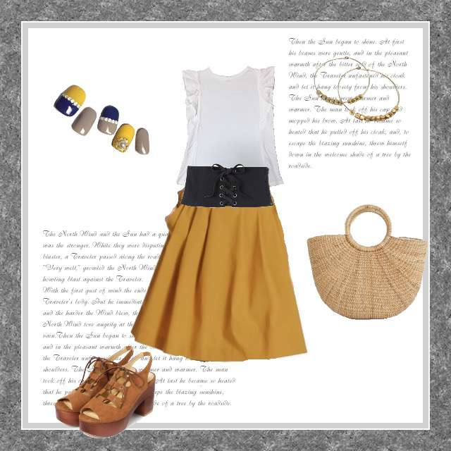 「ガーリー・フェミニン、女子会」に関するUNIQLOのTシャツ/カットソー、UNIQLOのひざ丈スカート等を使ったコーデ画像