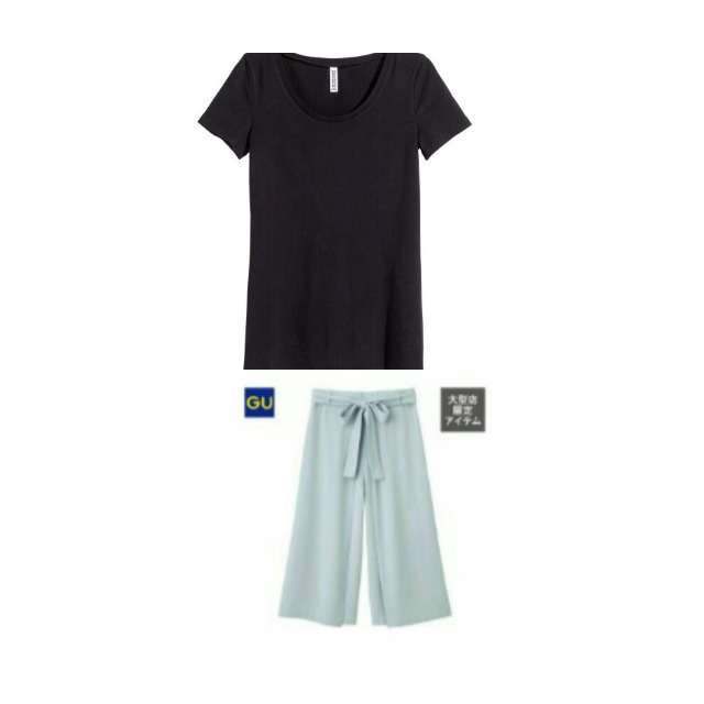 H&MのTシャツ/カットソー、GUのガウチョパンツ等を使ったコーデ画像