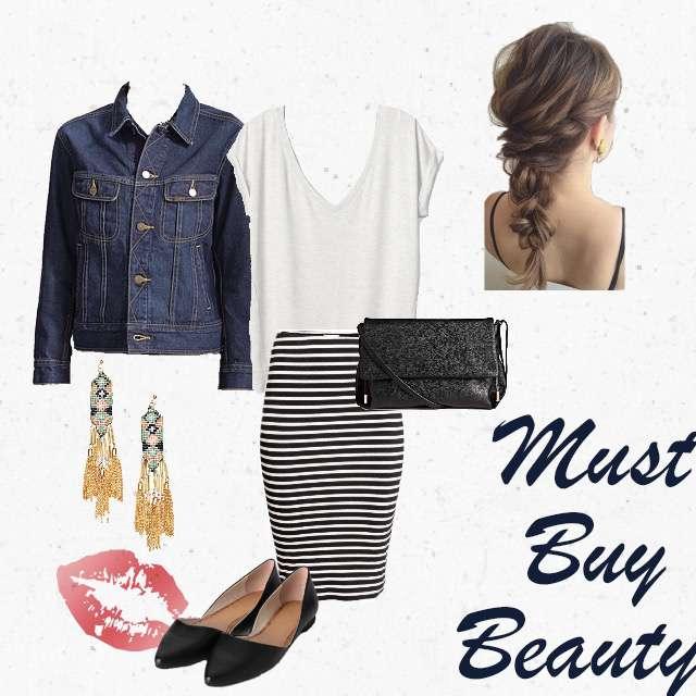 「シンプル、休日、おでかけ」に関するH&MのTシャツ/カットソー、H&Mのタイトスカート等を使ったコーデ画像