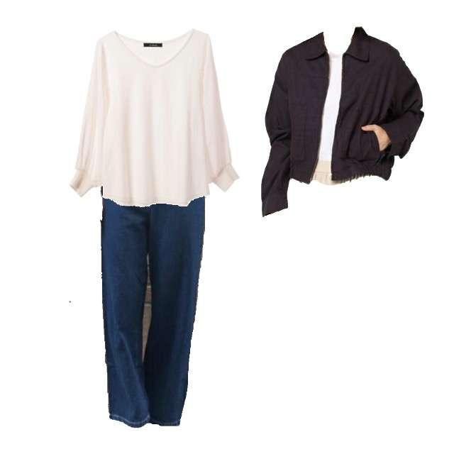 w closetのTシャツ/カットソー、mysticのデニムスカート等を使ったコーデ画像