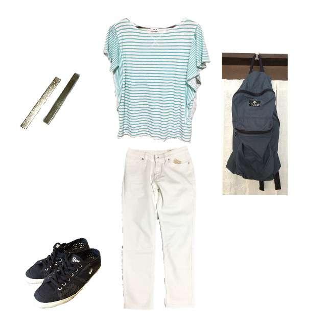 coenのTシャツ/カットソー、MUJIのデニムパンツ等を使ったコーデ画像