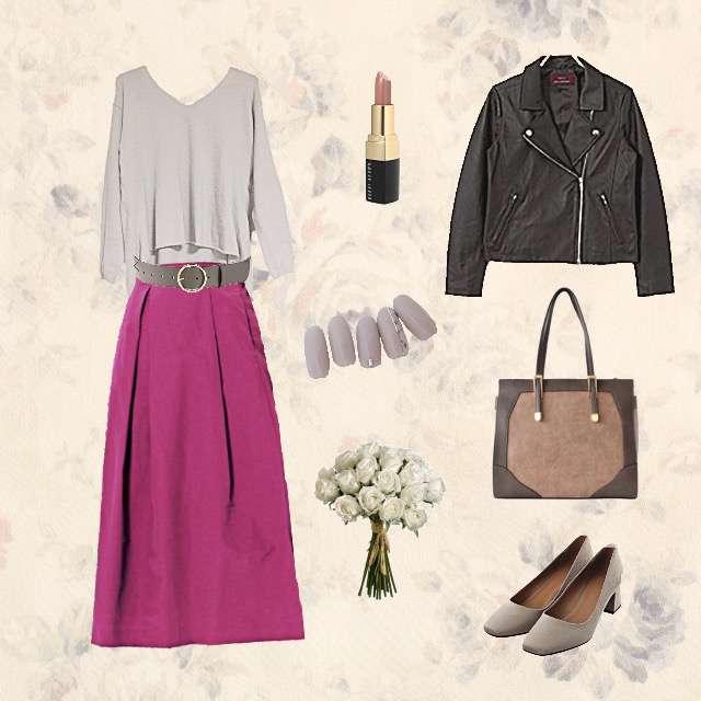「コンサバ・エレガント、女子会、ライダースジャケット、ピンクスカート、グレージュ、アーバンリサーチ」に関するURBAN RESEARCHのニット/セーター、Discoatのミモレ丈スカート等を使ったコーデ画像