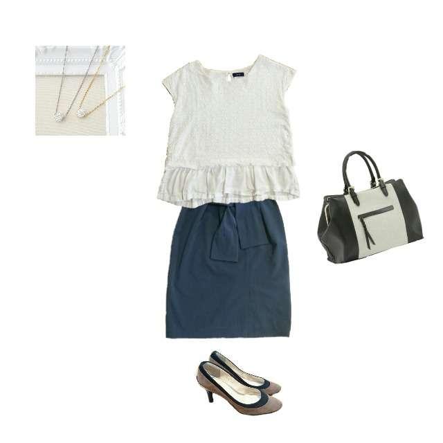 SHIPSのシャツ/ブラウス、STRAWBERRY-FIELDSのひざ丈スカート等を使ったコーデ画像