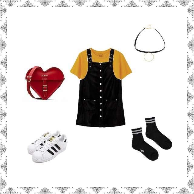 「おでかけ、かわいい、お出かけコーデ、おでかけコーデ」に関するGUのTシャツ/カットソー、jouetieのジャンパースカート等を使ったコーデ画像