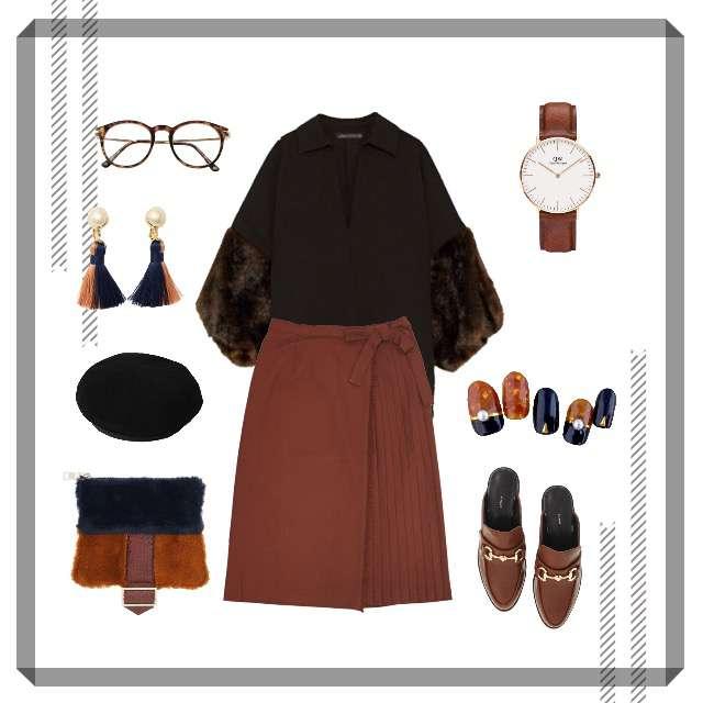 「セレブリティ、カフェ、秋コーデ」に関するZARAのシャツ/ブラウス、Factor=のプリーツスカート等を使ったコーデ画像