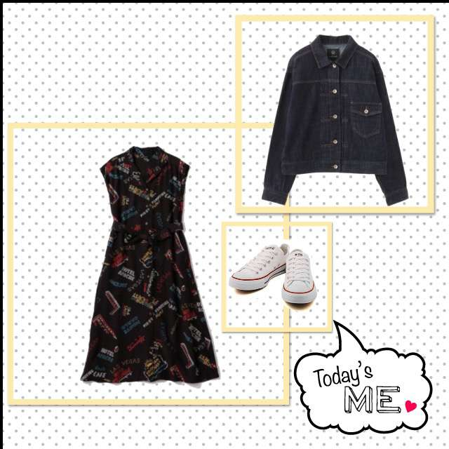 ROSE BUDのマキシ丈ワンピ、w closetのデニムジャケット等を使ったコーデ画像