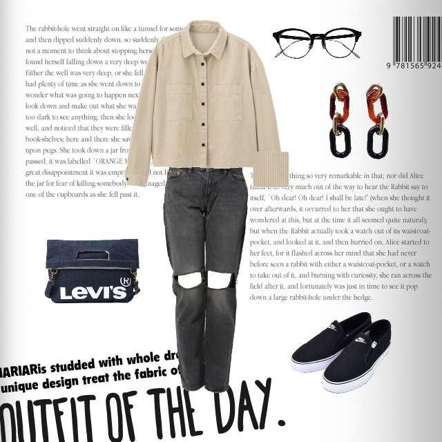 「カジュアル、休日、ママコーデ」に関するLEVI'Sのデニムパンツ、GUのジャケット等を使ったコーデ画像