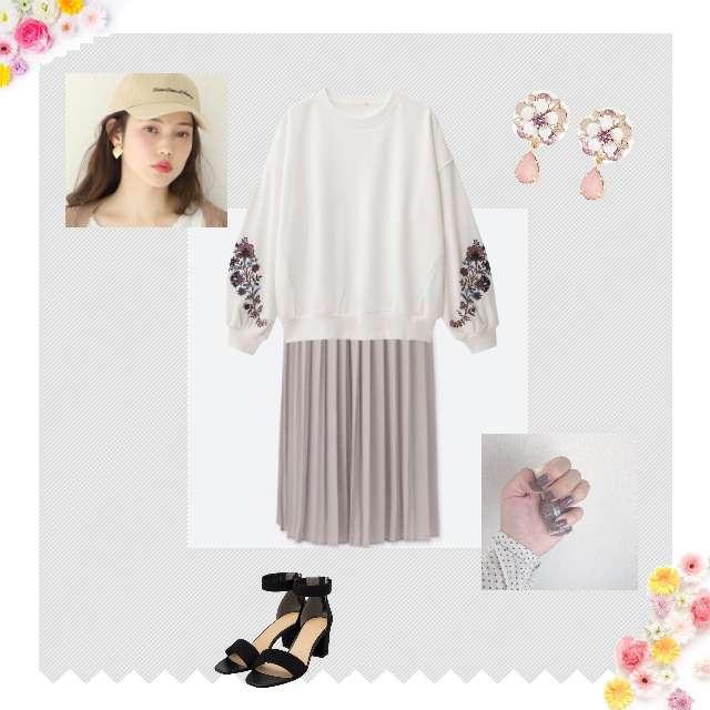 「ガーリー・フェミニン、お散歩、春、プリーツスカート、刺繍」に関するGUのパーカー/スウェット、UNIQLOのプリーツスカート等を使ったコーデ画像