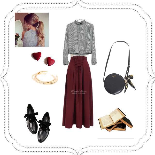 「ガーリー・フェミニン、休日、赤×黒」に関するBershkaのシャツ/ブラウス、フレアスカート等を使ったコーデ画像