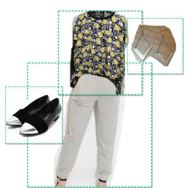 「カジュアル、通勤コーデ」に関するon the couchのシャツ/ブラウス、on the couchのスウェットパンツ等を使ったコーデ画像