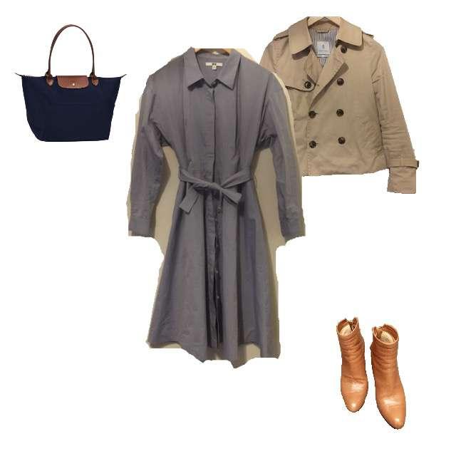 「1枚で着れる」に関するUNIQLOのシャツワンピ、ROPE' PICNICのトレンチコート等を使ったコーデ画像