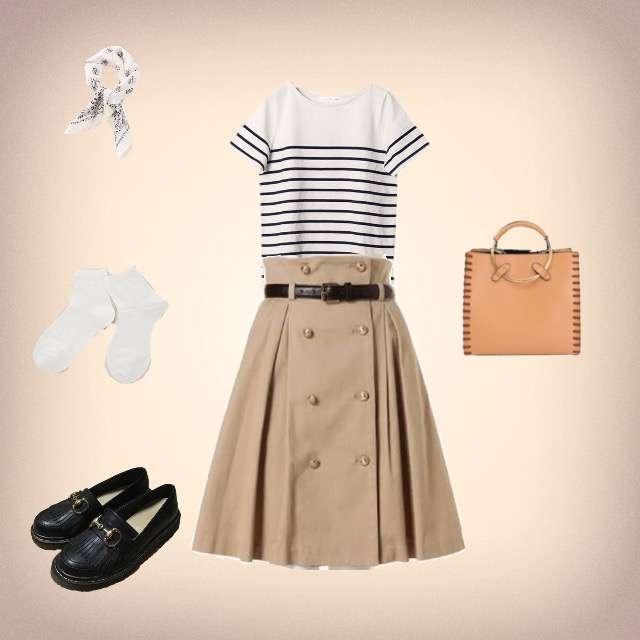 「カジュアル、休日、お出かけ、マリン」に関するPierrotのTシャツ/カットソー、dazzlinのひざ丈スカート等を使ったコーデ画像