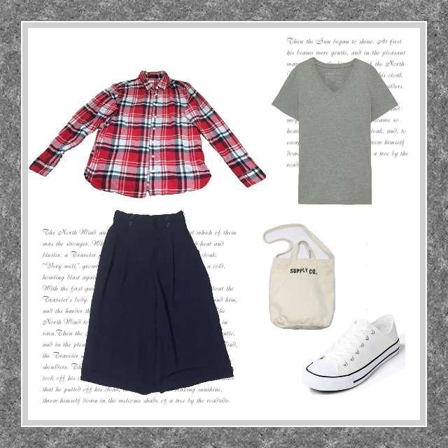 「カジュアル、休日」に関するMUJI(無印良品)のTシャツ/カットソー、UNIQLOのシャツ/ブラウス等を使ったコーデ画像
