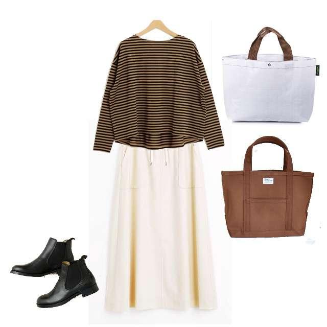 allurevilleのTシャツ/カットソー、LA MARINE FRANCAISEのマキシ丈スカート等を使ったコーデ画像