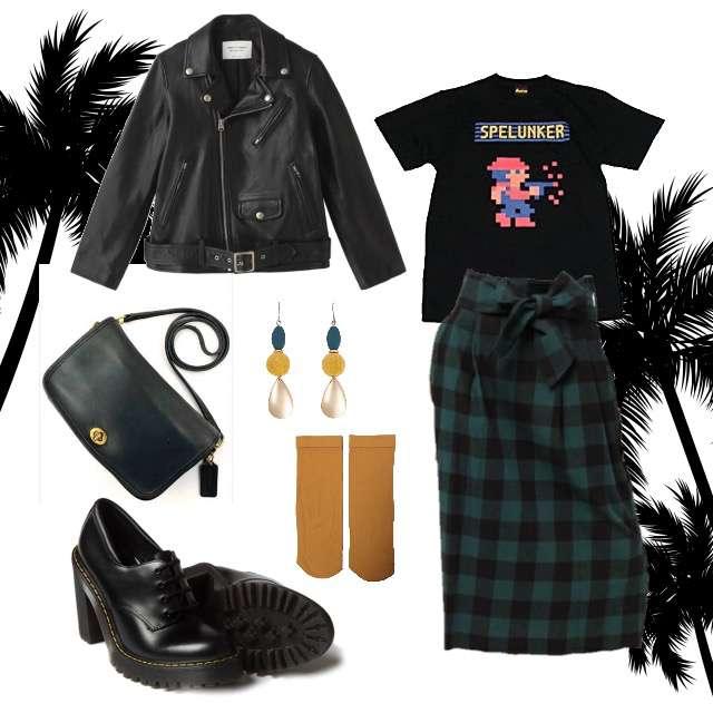 「ストリート、イベント」に関するTシャツ/カットソー、CAPRICIEUX LE'MAGEのミモレ丈スカート等を使ったコーデ画像