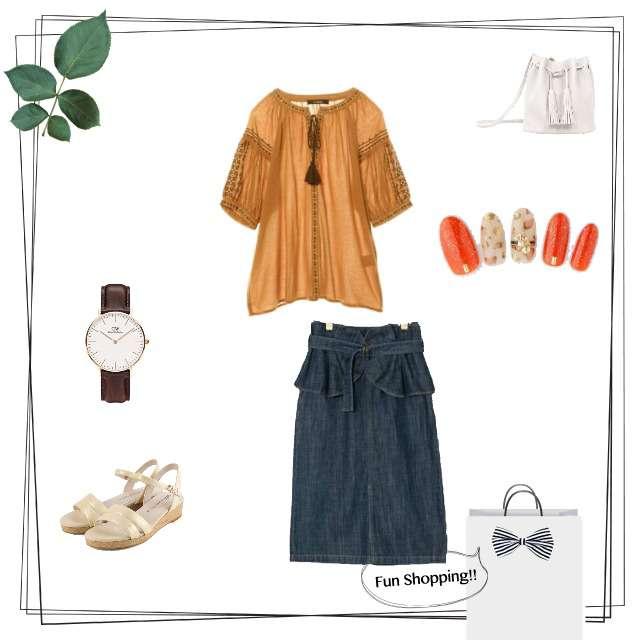 「カジュアル、ショッピング」に関するw closetのシャツ/ブラウス、w closetのミモレ丈スカート等を使ったコーデ画像
