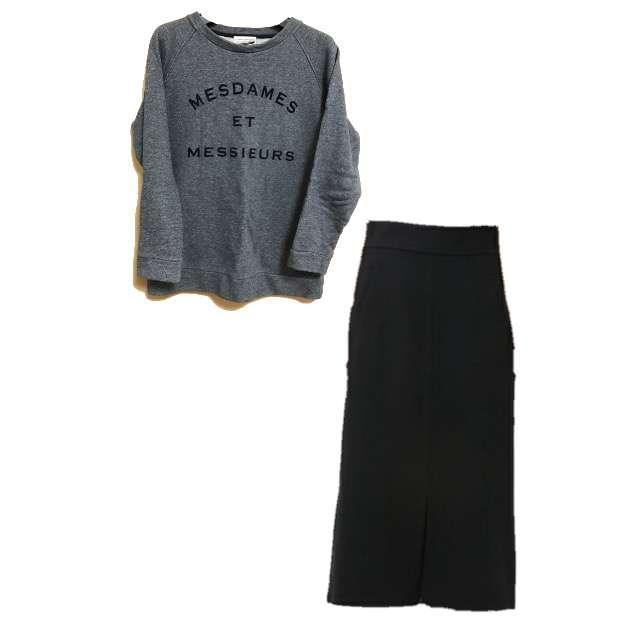 Rouge vifのパーカー/スウェット、IENA SLOBEのミモレ丈スカート等を使ったコーデ画像