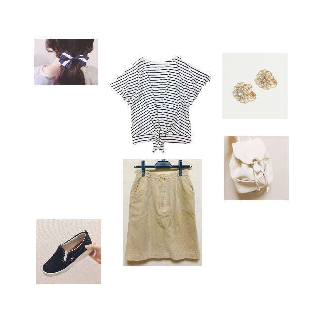 「カジュアル、ランチ、ボーダー」に関するTシャツ/カットソー、ひざ丈スカート等を使ったコーデ画像