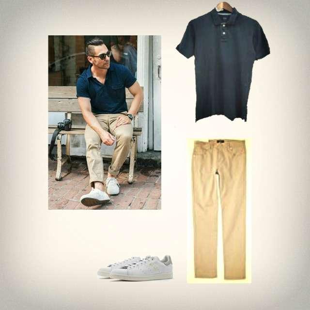 UNIQLOのポロシャツ、スキニーパンツ等を使ったコーデ画像