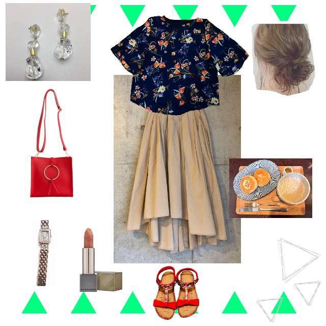 「シンプル、休日、バカンス、楽ちん、差し色、差し色赤、夏、夏コーデ」に関するMANGOのTシャツ/カットソー、COCAのマキシ丈スカート等を使ったコーデ画像