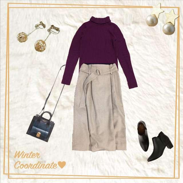 MUJIのニット/セーター、Te chichiのミモレ丈スカート等を使ったコーデ画像