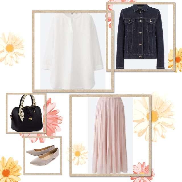UNIQLOのシャツ/ブラウス、UNIQLOのプリーツスカート等を使ったコーデ画像