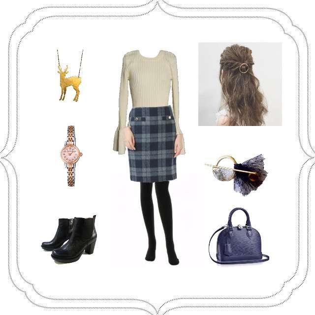 Lily Brownのニット/セーター、Dee Flavorのタイトスカート等を使ったコーデ画像